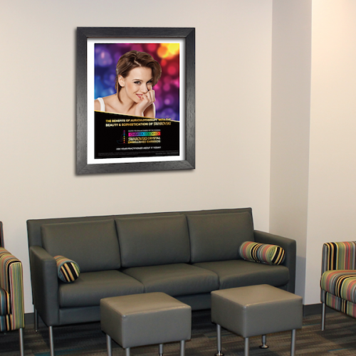 matted and framed paper poster in waiting area