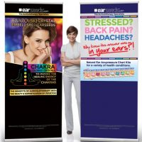 An assortment of banner stands, perfect for off-site events!